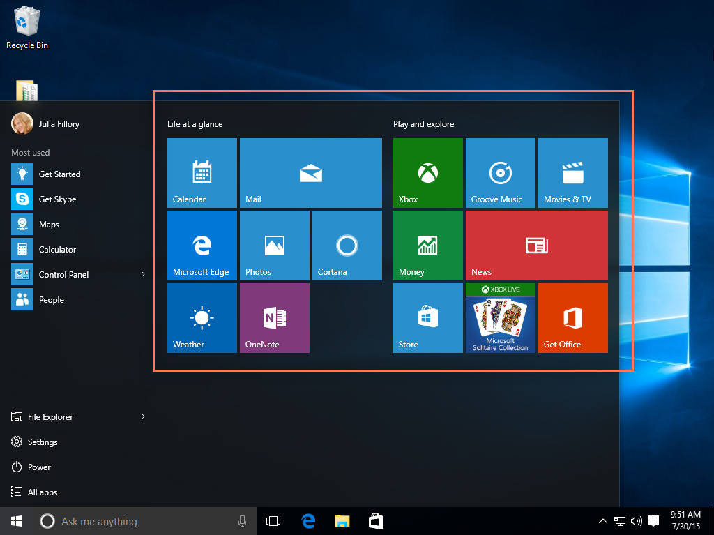 How to customize the Start menu in Windows 10